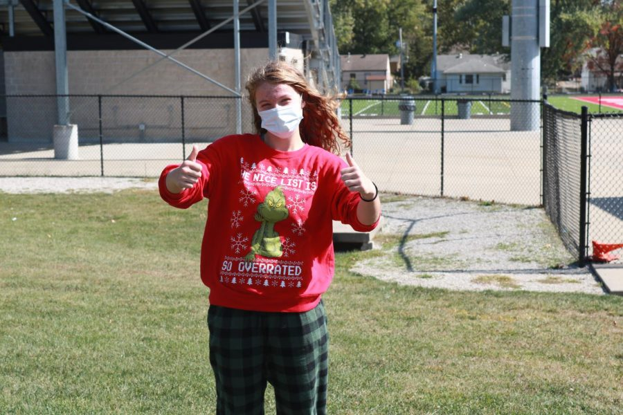 Sophomore Allison Quinn dresses in a Christmas sweater for the homecoming theme