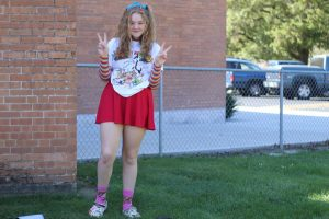 Sophomore Margaret Noblitt poses on homecoming week while dressing to the theme Stags for Life.