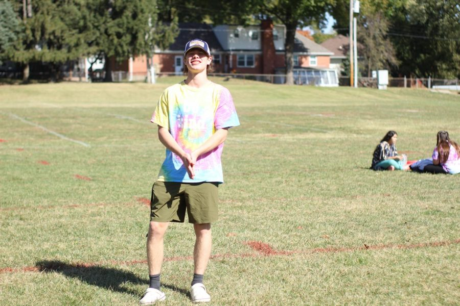 Sophomore Harrison Roth poses in toddler attire for homecoming week on Tuesday Oct. 13.