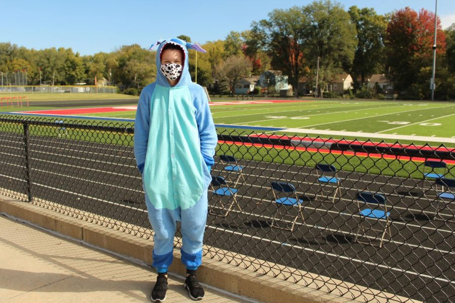 Freshman Megan Ruf wears a Stitch onesie for the homecoming theme