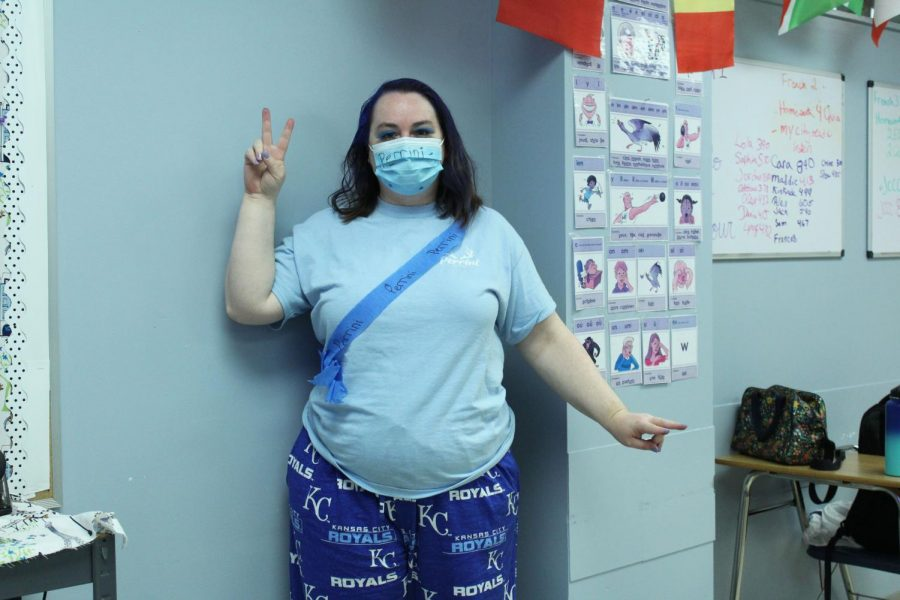 French teacher Leigh-Ann Haggerty poses as she dresses in all blue for the Perrini Herd on Friday Oct. 16.
