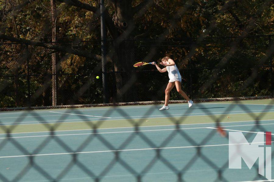Sophomore Lauren Myers competes in singles at Regionals.