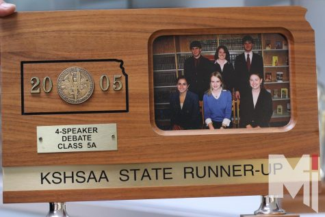 During the Bishop Miege Debate Invitational, four of the alums from the 2005 state team virtually attended. In 2005, the squad placed second in state. Front row: Whitney O