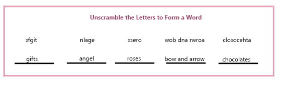 Valentine's Puzzle Answer Key