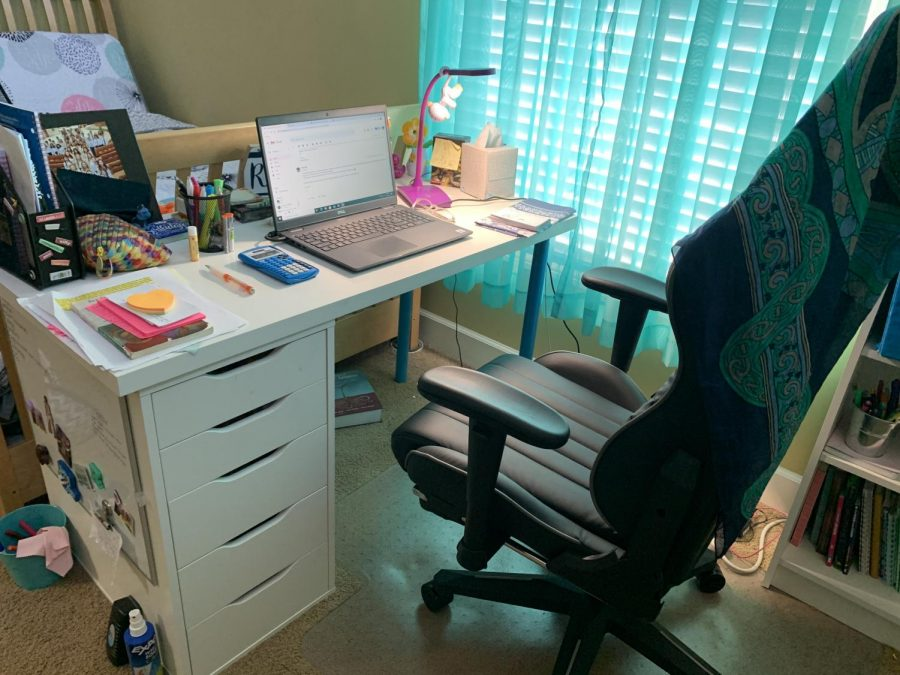 As a remote learner, freshman River Ball presents her designated home desk for learning.