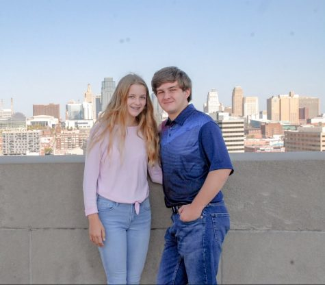 Senior Joey Vogt poses with his freshman sister, Emma Vogt.